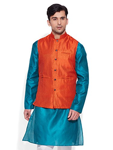 Very Me Men's Designer Orange Faux Silk Textured Nehru Jacket Size:- 40 / L  available at amazon for Rs.999
