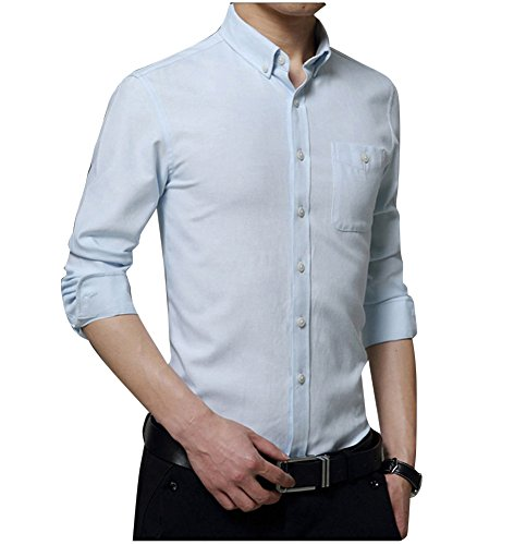 Casual Camicia Slim Fit Colletto Button-Down / Camicia classiche - Uomo Taglia M/L/XL/XXL/3XL Cielo blu