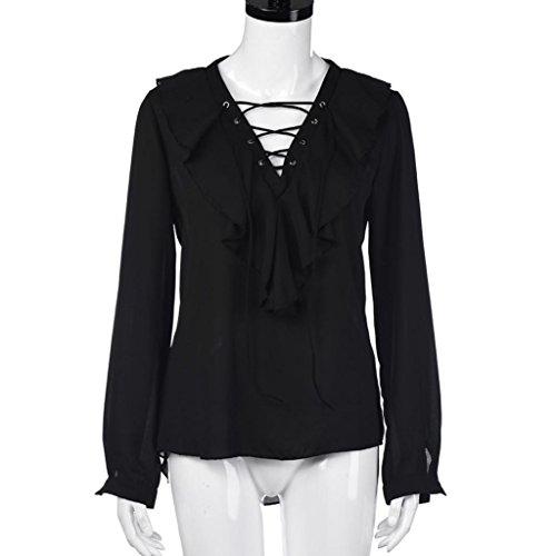 Ularma Damen Elegant Langarm Chiffon Bluse V-Ausschnitt Volant Seil T-Shirt Schwarz