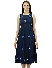 c2e9d1b34ee3 Bimba Women s Embroidered Denim Shift Dress Sleeveless Mid Calf Length  Casual Dresses