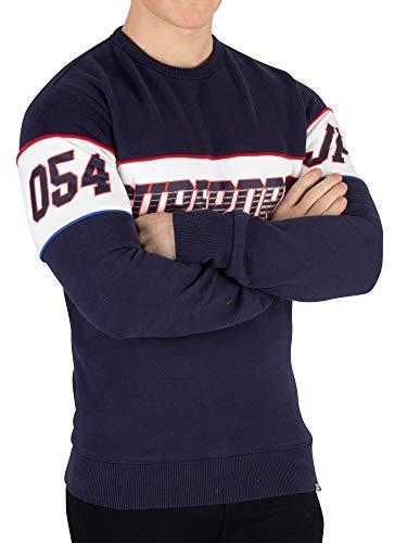 Superdry Herren Retro Streifen Sweatshirt, Blau, X-Large - Retro-sweatshirt