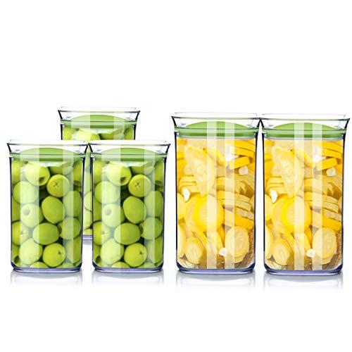 LIYANCMX Küche Kühlschrank Korn Lagerung Container Vakuum Transparent Kunststoff Milchpulver Nuss Snack Kaffeebohne Versiegelt Lebensmittel Aufbewahrungsbox Quadrat Vorratsdosen -