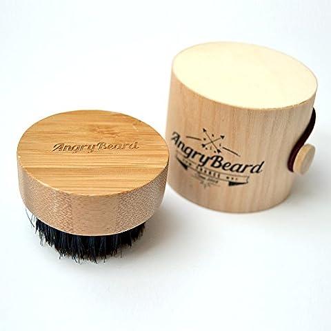 Brosse à Barbe ✪✪ AngryBeard ✪✪ Brosse Ronde 100% en poils de sanglier et bois naturel pour l'entretien de la barbe et moustache | QUALITE PREMIUM | Livrée dans une magnifique boite en bois. ❤️ 100% Satisfait ou remboursé ❤️