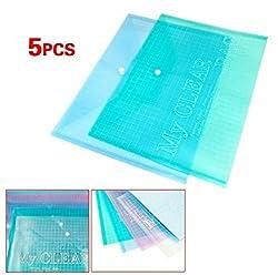 TOTAL HOME: 5X A4 Stud Plastic Popper Files Folders Document Wallet Office Depot Multi Color