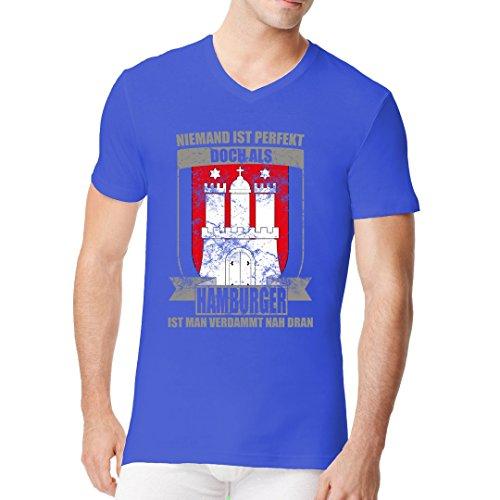 Fun Sprüche Männer V-Neck Shirt - Wappen Perfekter Hamburger by Im-Shirt Royal