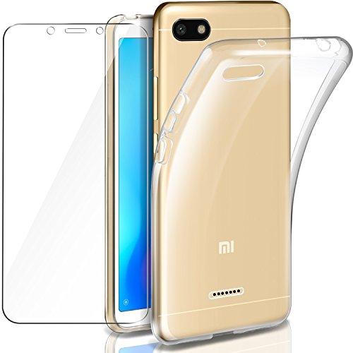 """TJA Funda de cuero con protector de pantalla de cristal templado para LG y G3, Xiaomi Redmi 6A - 5.45"""""""
