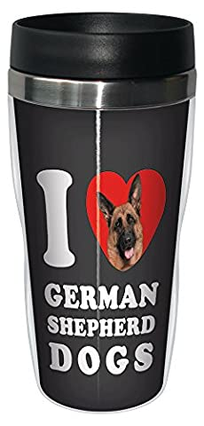 Tree Free Grußkarten, SG25056 I Heart Schäferhund Hunde, Sip 'N Go Becher für unterwegs