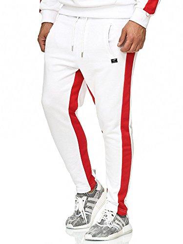 Red Bridge Jogginghose Herren Jogger Hose Sporthose mit Streifen Weiß L