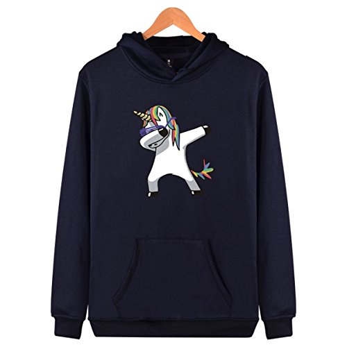 SERAPHY Unisex Winter Sweatshirts Kapuzenpullover für Frauen und Männer Hip Pop Tupfen Tanzen Einhorn Gedruckt Kapuze Mode Hoodies Blue-Unicorn