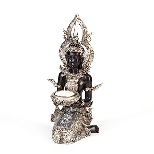 AST Thai Buddha Deko Figur Teelichthalter Budda Skulptur Feng Shui Statue Glück Joga
