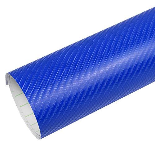 Rapid Teck® PREMIUM - 4D Carbon Blau 1m x 1,52m Auto Folie Blasenfrei mit Luftkanälen für Auto Folierung und 3D bekleben in Matt Glanz und Carbon