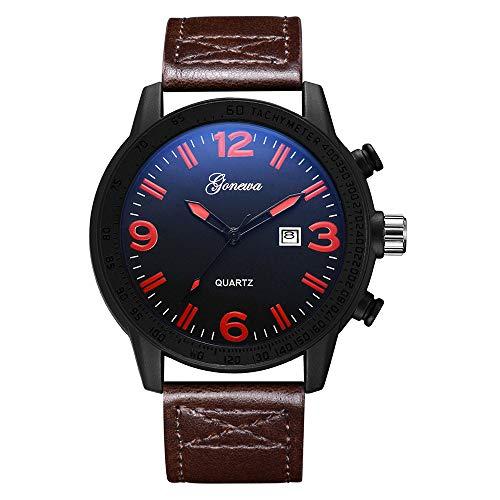 Angdu orologi da uomo cronografo business casual data calendario semplice nero rosso arancio moda orologio da polso in pelle per gli uomini (color : red)