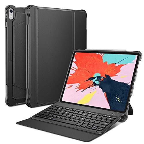 OMOTON abnehmbare Bluetooth Tastatur Hülle für iPad Pro 12.9 2018, deutsches Layout QWERTZ Wireless Keyboard Case Cover, Leder Hülle mit Stift-Halterung, Auto Schlaf/Aufwach Funktion, schwarz