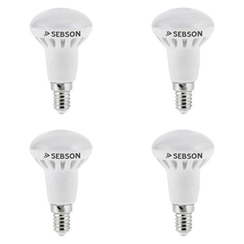 SEBSON LED Lampe E14 R50 6W (5.5W), ersetzt 40W Glühlampe, warmweiß, 400lm, Leuchtmittel 160°, 4er Pack