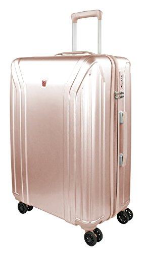 Traveller New York Hartschalen Koffer, 4 Rollen Reisekoffer für Damen / Herren mit TSA Schloss, 77x52x29 – 85L, Rose