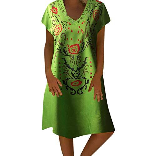 SuperSU-Kleid ►▷ Damen Sommer Lässiges Täglich Kleider Ärmellos Ethnisch Stil Print Knielanges Kleid Atmungsaktive Casual Strandkleid Nachtkleid Abendkleid Bequeme Freizeitkleid