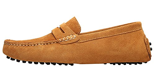 JIONS Herren Mokassin Bootsschuhe Flache Slippers Wildleder Loafers Fahren Halbschuhe Gelb