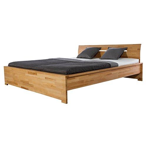 Woodlive Bett Holzbett Doppelbett Sandnes, 160x200, Massivholz Holz Kernbuche massiv geölt, Breite 170 cm, Tiefe 214 cm, Höhe 88 cm