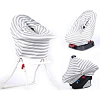 Car Seat Canopy for Infant Baby with Breathing Botton & Nursing Cover & Scarf | Multi-Use - Covers High Chair, Stroller & Shopping Cart, Baby Pillow | Free Gift Box Set by Hoyou (Grey)