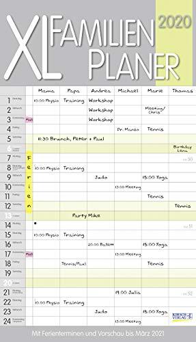 XL Familienplaner Pastell 2020: Familienkalender mit 6 breiten Spalten. Hochwertiger Familientimer mit Ferienterminen, extra Spalte, Vorschau bis März 2021 und nützlichen Zusatzinformationen.