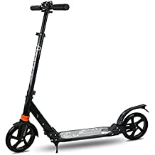 Innotic - Patinete para niños y adultos, ruedas grandes de 200 mm, suspensión de muelles delanteros y traseros, guardabarros, marco plegable, correa de transporte, altura ajustable, aluminio, negro