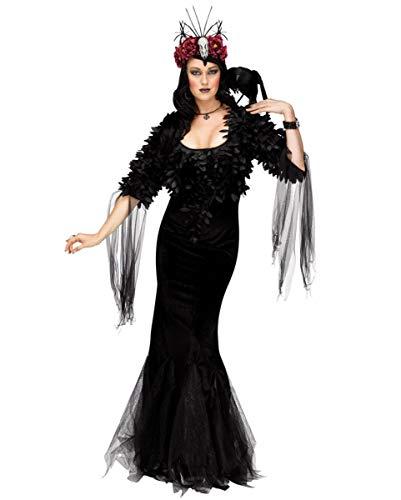 Raven Kostüm Queen - Horror-Shop Raven Queen Gothic Kostüm für Halloween & Fasching M