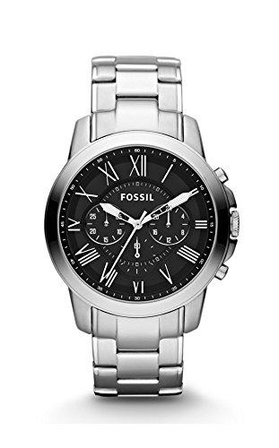 Fossil Herren-Armbanduhr Grant Analog Quarz One Size, schwarz, schwarz