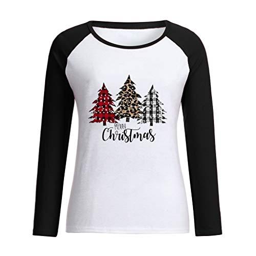 Kolila Christmas T Shirt Damen Frohes Neues Jahr Weihnachten Tree Drucken Raglan Langarm Oberteile Baseball T-Shirt Tops