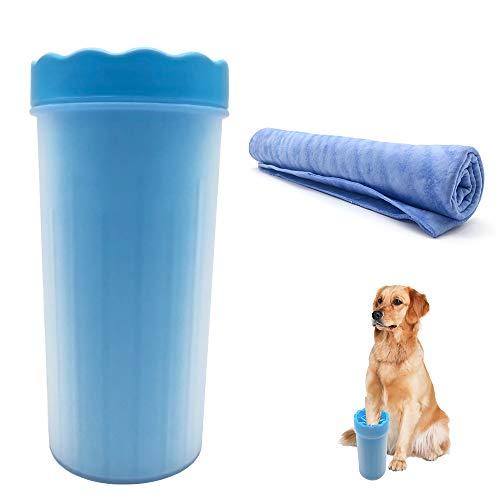 Hunde Pfote Reiniger(Large) + Pet Handtuch(PVA), Oxsaytee Pfotenreiniger Tragbarer Pet Reinigung Pinsel Tasse Hundepfote Reiniger Fuß Reinigungsbürste Fuß Waschen Tasse, Ideal zur Pfotenreinigung bei Hunden für schlammige Regentage (Height 8.66inch)