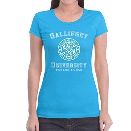 Gallifrey University Damen TShirt Slim Fit Doctor Time Academy Who Hellblau