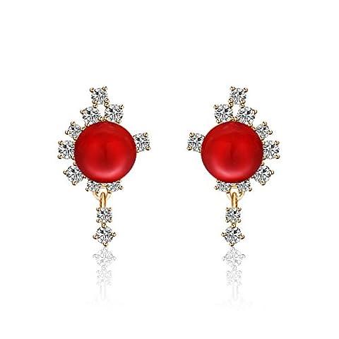 L / C. Europe Et Les Dames De La Mode Des Etats-Unis Boucles D'zircons Perle Boucles D'oreilles Anti-allergiques,Red-OneSize