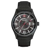 Swiss Military 06-4155.13.007 - Reloj analógico de cuarzo para hombre con correa de piel, color negro de Swiss Military