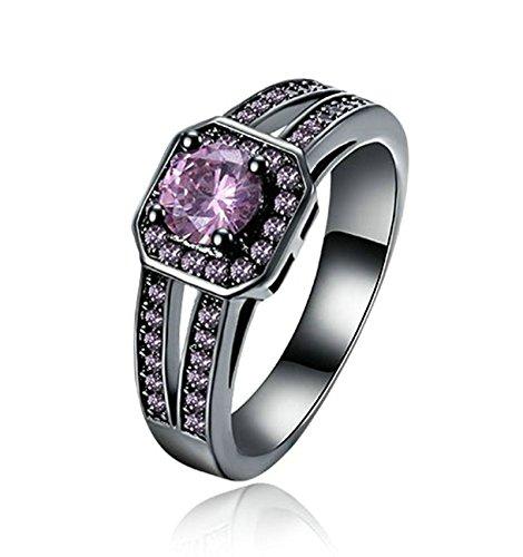 Aeici Vergoldet Verlobungsring für Frauen Kreis Ringe Pink Größe 54 (17.2) Breite:0.9CM