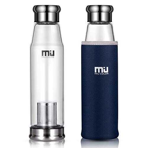 MIU COLOR Stilvolle Tragbare 650ml Glas Trinkflasche für Auto, mit Nylon Tasche & Teesieb (Blau)