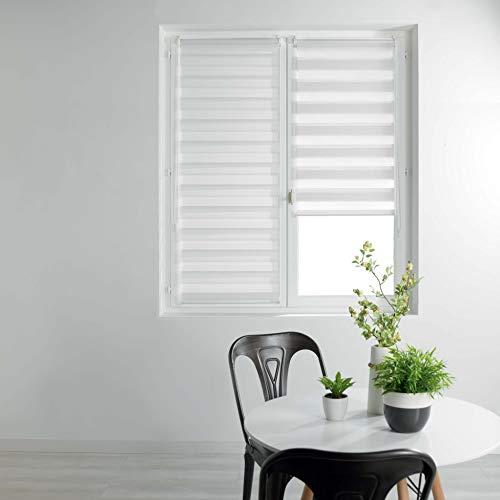 store d'intérieur store enrouleur jour et nuit 45x180 cm polyester daynight blanc