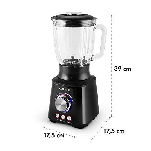 Klarstein Herakles 10027719 - Batidora de vaso, 1000W, 21000rpm, iluminacion LED, turbo, acero inoxidable, 1,5 L, Negro