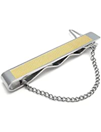 KONOV Pince À Cravate Homme - Haute Qualité - Acier Inoxydable - Mariage - pour Homme - Couleur Or Argent - Avec Sac Cadeau - F22015