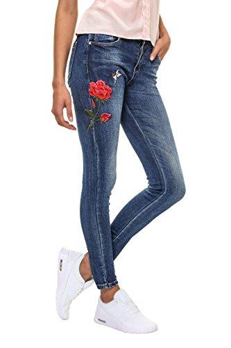 Hailys Damen Skinny Jeans mit Stickerei Stretch Denim Used Look Dark Blue