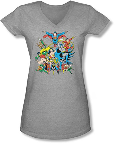 Dc - junge Frauen Justice League Bauen mit V-Ausschnitt T-Shirt Heather