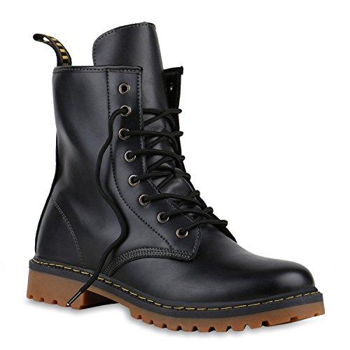 Damen Herren Worker Boots Stiefeletten Schnürstiefeletten Leder-Optik Robuste Schnürboots StiefelÜbergrößen Schuhe 128056 Schwarz 36 Flandell