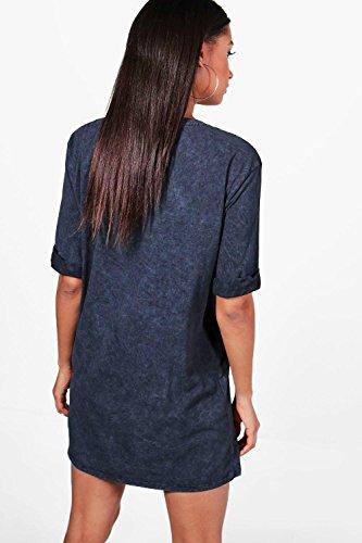 Damen Schwarz Ziggy T-shirt-kleid Mit Motörhead-print Und Acid-waschung Schwarz
