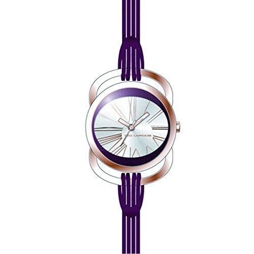 Ted Lapidus - A0365UBRL - Montre Femme - Quartz Analogique - Cadran Blanc - Bracelet Cuir Violet