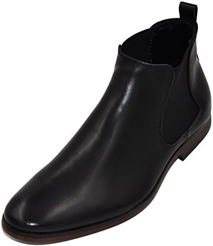 Chelsea boots bottines homme à doublure cuir (43, noir pu)