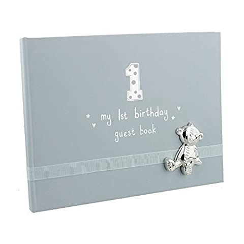 Button Corner My 1st Birthday Blue Boys First Birthday Guest Book with metal teddy icon