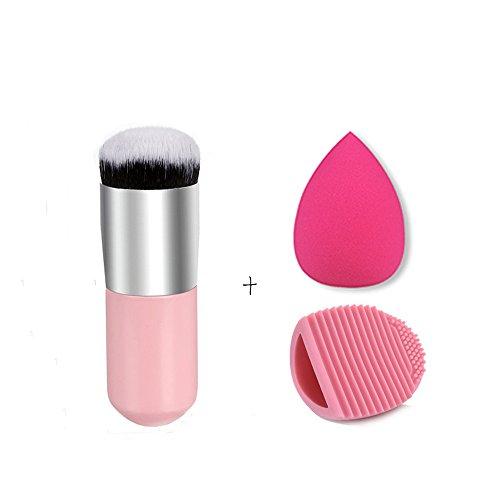 Beauty Blender Pro Reiniger (JasCherry Pro 1 Stück Make Up Pinselset + 1 Schwamm Puff + 1 Silikon Pinsel Reiniger - Professionellen Kosmetik Schmink-pinselset für Foundation Concealer Lidschatten etc.)