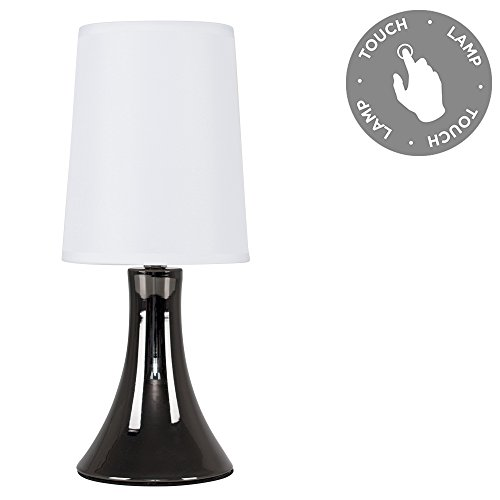 Modern Black Chrome Touch Table Lamp With White Fabric Shade