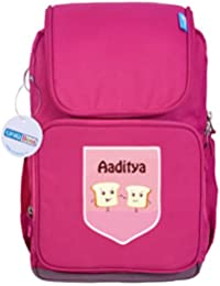 UniQBees Personalised School Bag With Name (Smart Kids Large School Backpack-Pink-Toasters)