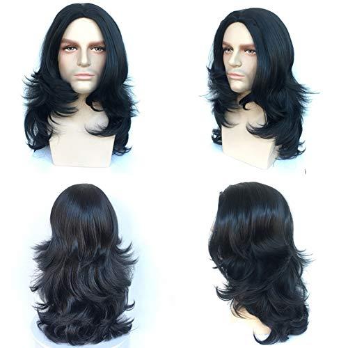 rücke Männer Frauen Unisex Layered Lange Welle Haar für Halloween Kostüm Cosplay Perücke Oder Den Täglichen Gebrauch, Schwarz ()
