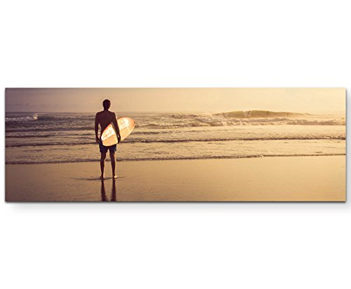 Paul Sinus Art Leinwandbilder | Bilder Leinwand 120x40cm Surfer am Strand