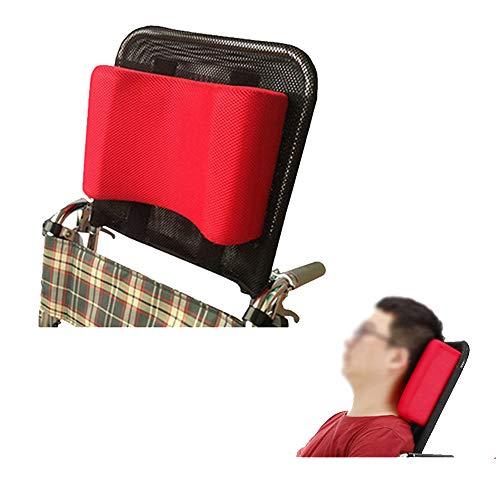 Poggiatesta per sedia a rotelle, supporto per la testa e per il collo regolabile e portatile per adulti, da viaggio, 40,6-50,8cm, accessorio cuscino universale per sedia a rotelle, colore rosso